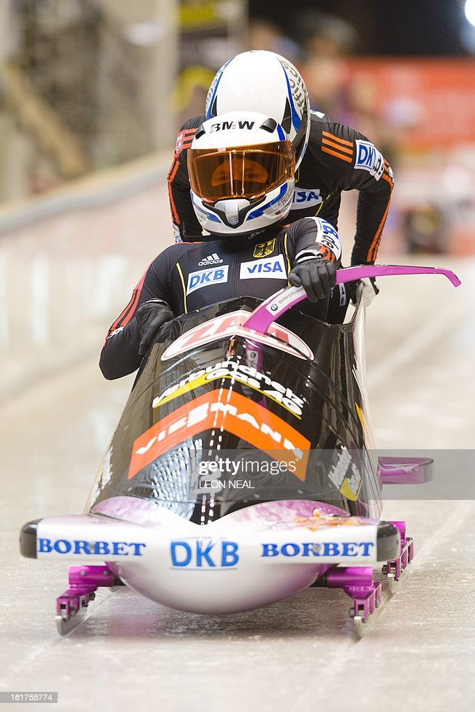 Germany's Sandra Kiriasis takes part in the first run during the Women's Bobsleigh competition at the Sanki Sliding Centre, some 50 km from Russia's Black Sea resort of Sochi, on February 15, 2013. With a year to go until the Sochi 2014 Winter Games, construction work continues as tests events and World Championship competitions are underway.