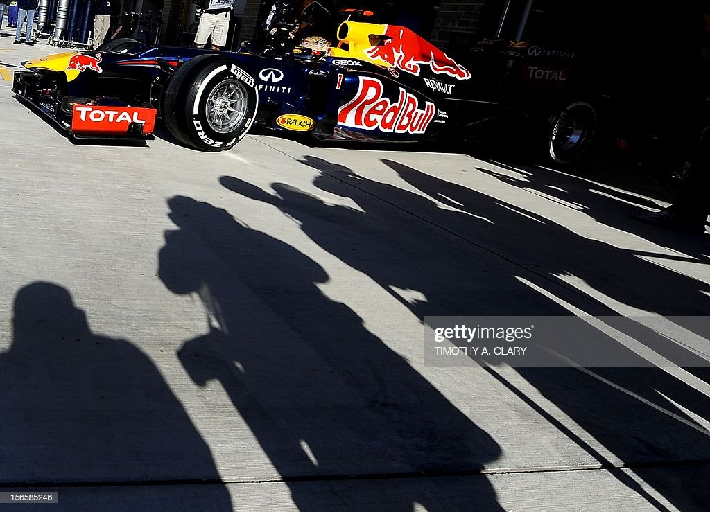 Germany's Sebastian Vettel of Red Bull racing drives out of the pits during the third practice session for the United States Formula One Grand Prix at the Circuit of the Americas on November 17, 2012 in Austin, Texas.