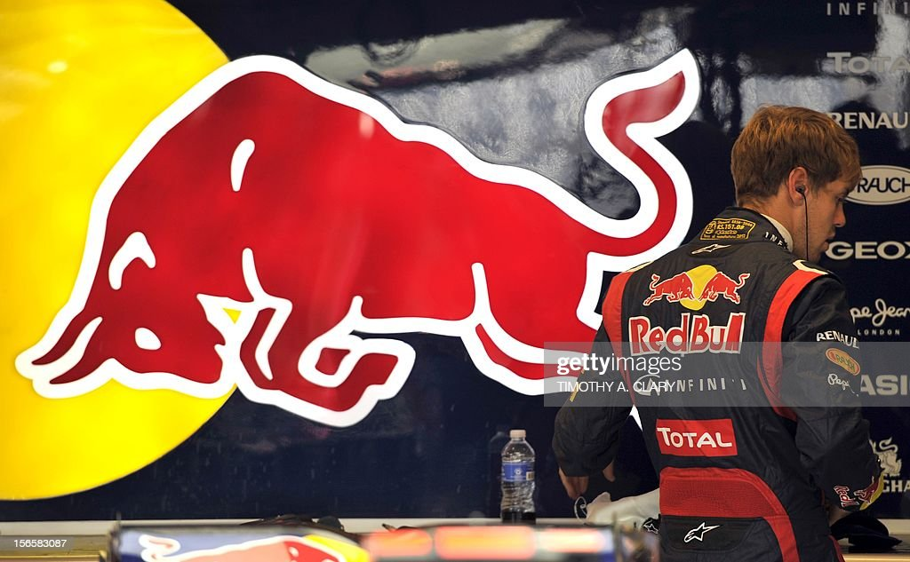 Germany's Sebastian Vettel of Red Bull racing stands in the pits during the third practice session for the United States Formula One Grand Prix at the Circuit of the Americas on November 17, 2012 in Austin, Texas.
