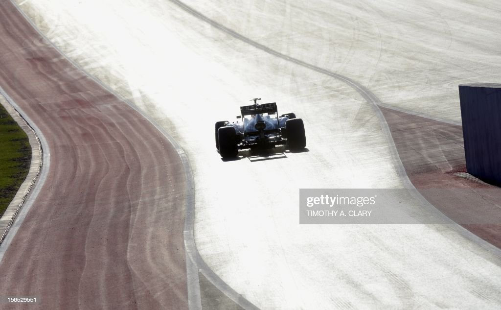 Germany's Sebastian Vettel with Red Bull Racing steers his car during the first practice session for the United States Formula One Grand Prix at the Circuit of the Americas on November 16, 2012 in Austin, Texas.