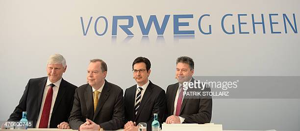 Germany's secondbiggest power supplier RWE member of board Rolf Martin Schmitz chairman Peter Terium CFO Bernhard Guenther and Chief Human Resources...
