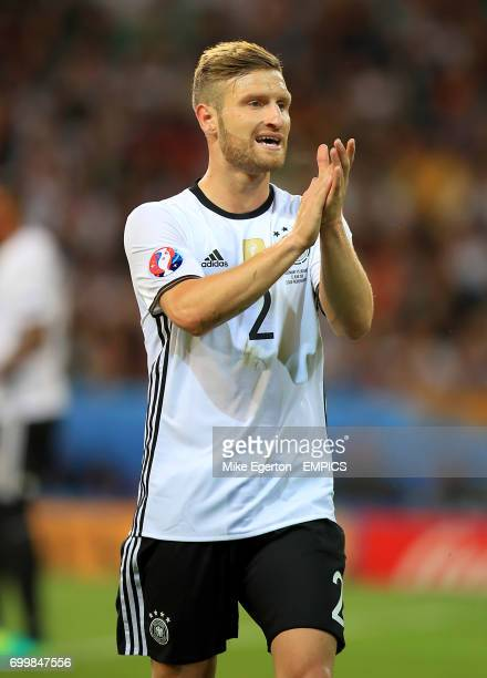 Germany's Shkodran Mustafi applauds the fans after the final whistle