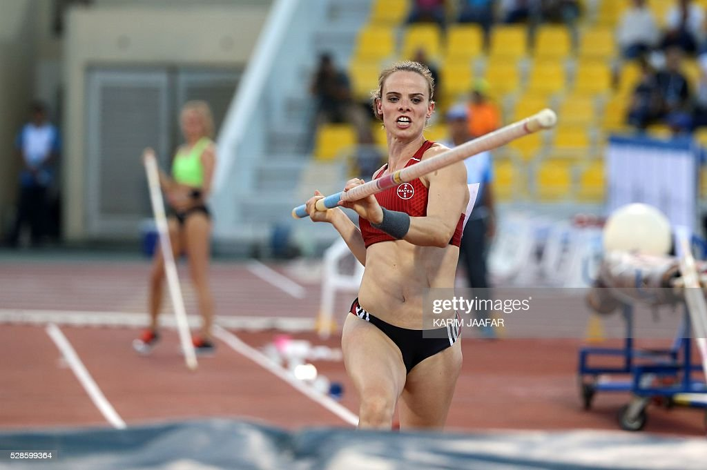 Germany's Silke Spiegelburg competes during the Pole Vault at the Diamond League athletics competition at the Suhaim bin Hamad Stadium in Doha, on May 6, 2016. / AFP / KARIM