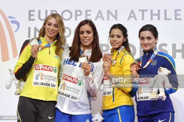 Germany's silver medallist Lisa Ryzih Greece's gold medal winner Ekaterini Stefanidi Sweden's bronze medallist Angelica Bengtsson and Ukraine's...
