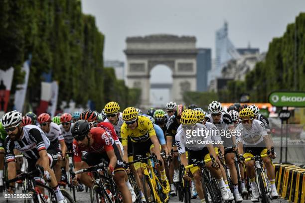 Germany's Simon Geschke Belgium's Thomas De Gendt Great Britain's Christopher Froome wearing the overall leader's yellow jersey Poland's Michal...
