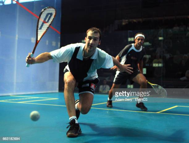 Germany's Simon Rosner in action against current World Champion Egypt's Amr Shabana