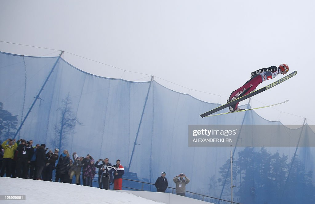 Germany's ski jumper Richard Freitag jumps during a training session at the 61st Four Hills tournament in Innsbruck, Austria on January 4, 2013. Austria's Schlierenzauer won ahead of Poland's Kamil Stoch and Norway's Anders Bardal.