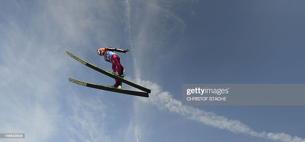 Germany's ski jumper Richard Freitag soars through the air during his trial jump at the 61th edition of the Four-Hills-Tournament (Vierschanzentournee) on December 31, 2012 in Garmisch-Partenkirchen, southern Germany. The second competition of the jumping event will take place in Garmisch-Partenkirchen, before the tournament continues in Innsbruck (Austria) and in Bischofshofen (Austria).