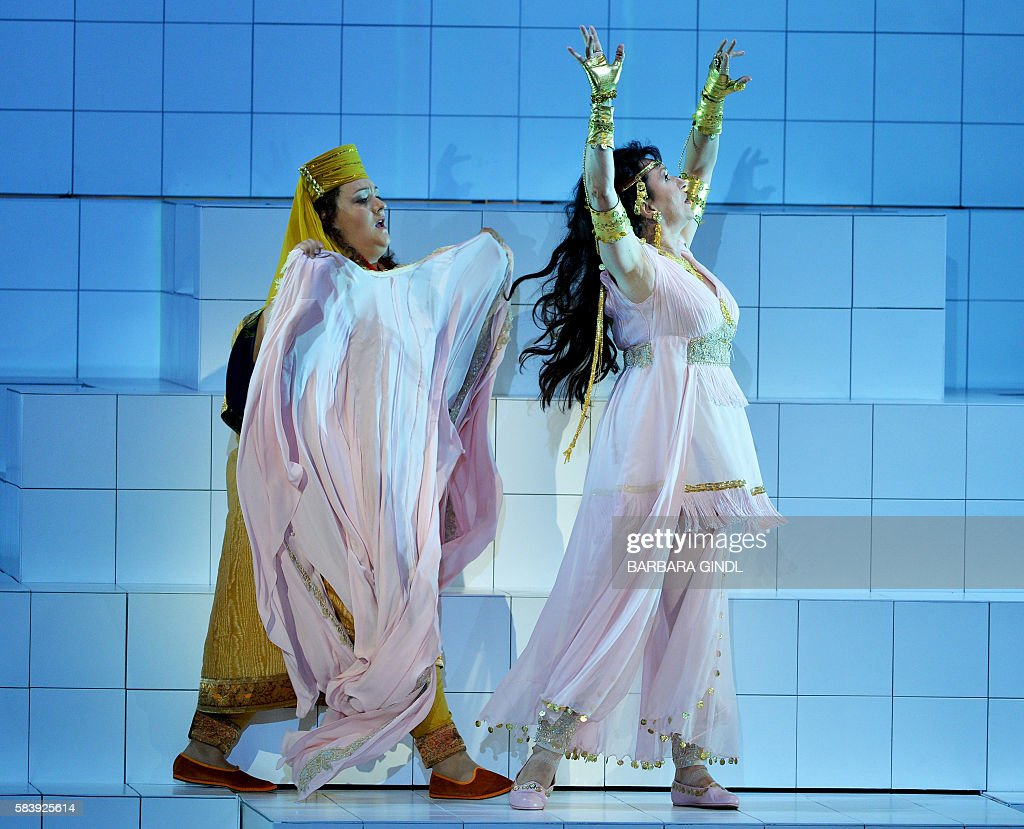Germany's soprano Regine Hangler in the role of 'Xanthe' and Bulgaria's soprano Krassimira Stoyanova in the role of 'Danae' perform during the...