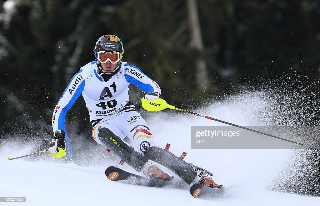 Germany's Stefan Luitz competes during the first round of the FIS World Cup men's slalom race on January 27, 2013 in Kitzbuehel, Austrian Alps. AFP PHOTO / ALEXANDER KLEIN