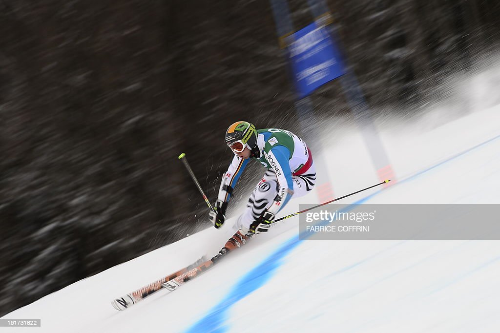 Germany's Stefan Luitz skis during the first run of the men's Giant slalom at the 2013 Ski World Championships in Schladming, Austria on February 15, 2013.