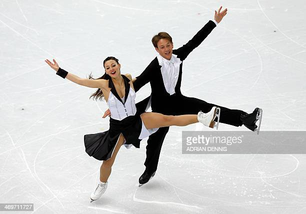 Germany's Stefano Caruso and Germany's Tanja Kolbe perform in the Figure Skating Ice Dance Short Dance at the Iceberg Skating Palace during the Sochi...