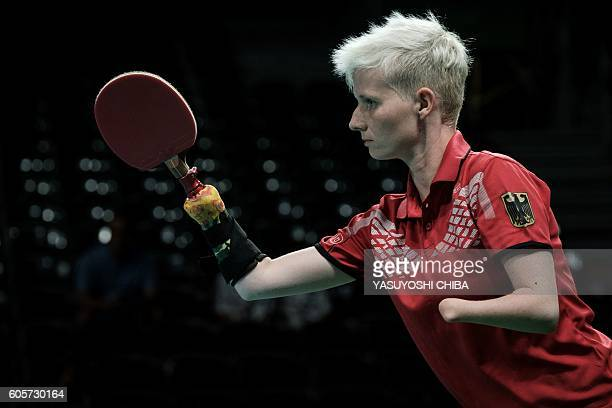 Germany's Stephanie Grebe competes against Brazil during the quarterfinal of the women's team table tennis in the Rio 2016 Paralympic Games at...