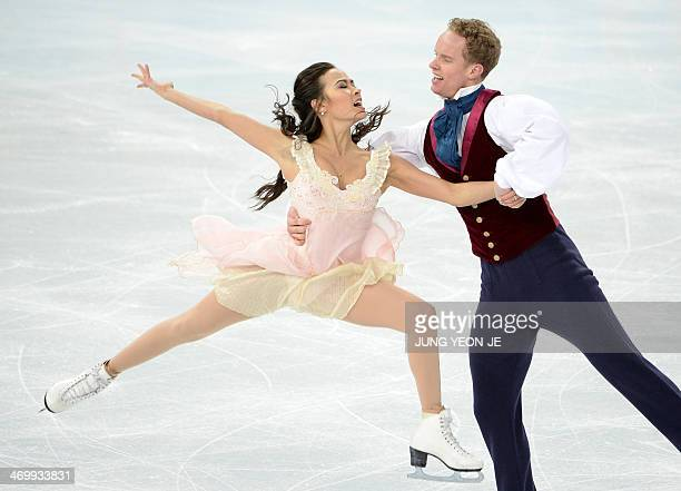 Germany's Tanja Kolbe US Madison Chock and US Evan Bates perform in the Figure Skating Ice Dance Free Dance at the Iceberg Skating Palace during the...