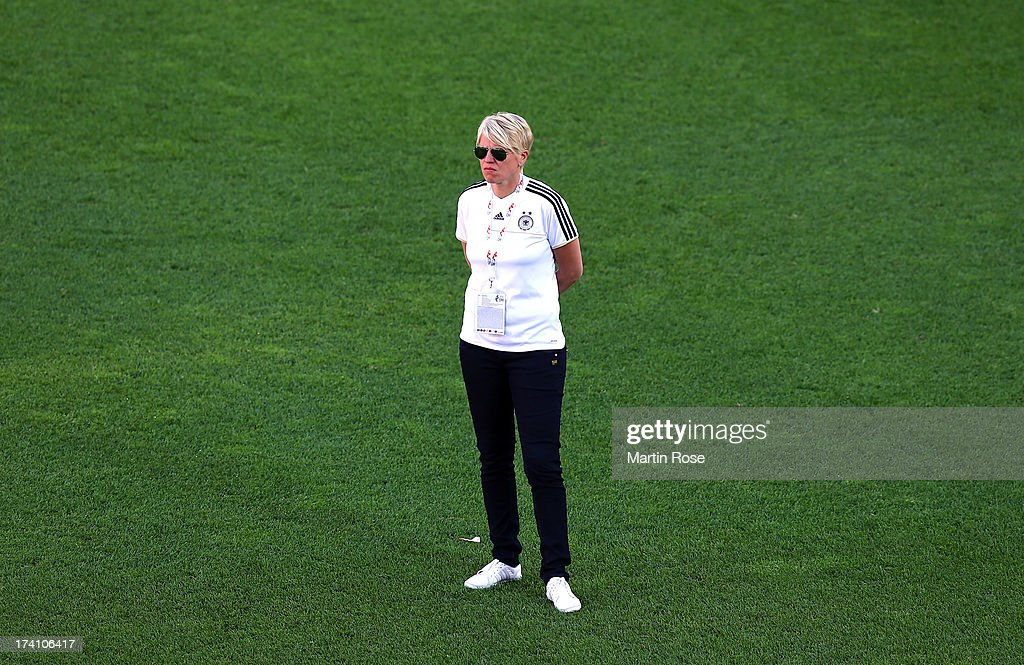 Germany's team manager <a gi-track='captionPersonalityLinkClicked' href=/galleries/search?phrase=Doris+Fitschen&family=editorial&specificpeople=2382890 ng-click='$event.stopPropagation()'>Doris Fitschen</a> looks on during the training session of Germany at Vaxjo Arena on July 20, 2013 in Vaxjo, Sweden.