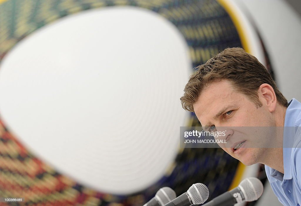 Germany's team manager Oliver Bierhoff addresses a press conference in Appiano, near the north Italian city of Bolzano May 24, 2010. The German football team is currently taking part in a 12-day training camp in Appiano to prepare for the upcoming FIFA Football World Cup in South Africa.