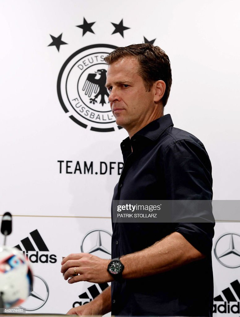 Germany´s team manager Oliver Bierhoff attends a press conference at their training grounds in Evian-les-Bains, eastern France, on June 30, 2016, during the Euro 2016 football tournament. / AFP / PATRIK