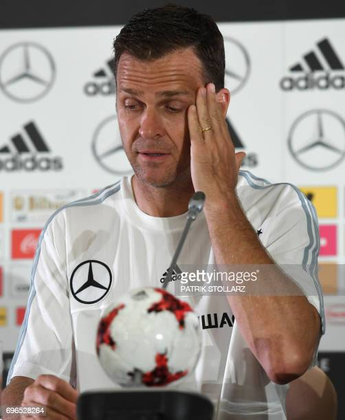 Germany´s team manager Oliver Bierhoff gives a press conference during the Russia 2017 Confederation Cup football tournament in Sotchi on June 16...