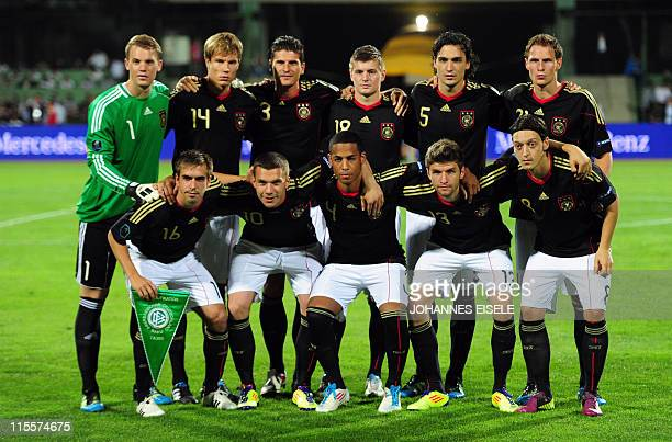 Germany's team pose for a group photo before the Euro 2012 qualifier football match Azerbaijan vs Germany on June 7 2011 in Baku Azerbaijan Germany...