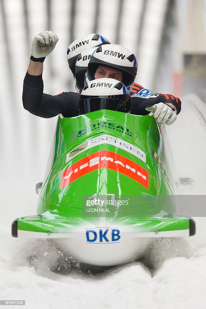 Germany's Thomas Florschuetz takes the silver medal at the 4-man Bobsleigh event at the FIBT Bob & Skeleton World Cup at the Sanki Sliding Centre, some 50 km from Russia's Black Sea resort of Sochi, on February 17, 2013. Russia's Alexander Zubkov came joint third and won the overall championship. With a year to go until the Sochi 2014 Winter Games, construction work continues as tests events and World Championship competitions are underway.