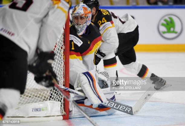 Germany´s Thomas Greiss reacts during IIHF Icehockey world championship first round match between Sweden and Germany in the LANXESS arena in Cologne...