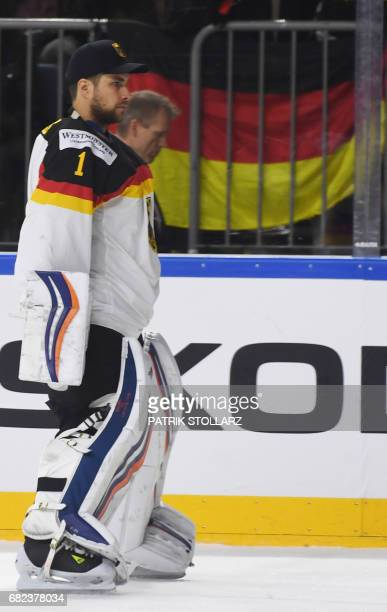 Germany's Thomas Greiss reacts prior to the IIHF Ice Hockey World Championships first round match between Germany and Denmark in Cologne western...
