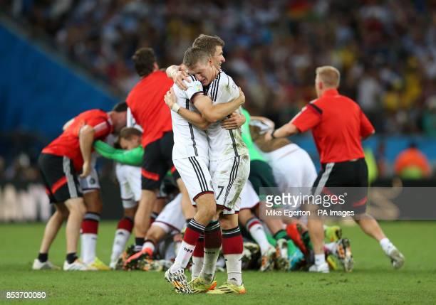 Germany's Thomas Muller Bastian Schweinsteiger during the FIFA World Cup Final at the Estadio do Maracana Rio de Janerio Brazil