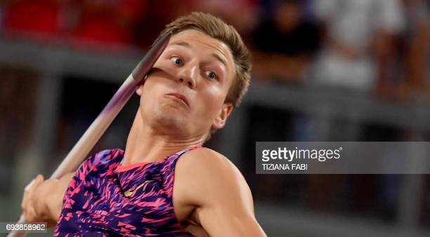 Germany's Thomas Rohler competes in the men's javelin event during the Rome IAAF Diamond League athletics competition on June 8 2017 at the Olympic...
