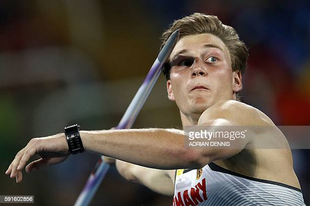 Germany's Thomas Rohler competes in the Men's Javelin Throw Qualifying Round during the athletics event at the Rio 2016 Olympic Games at the Olympic...