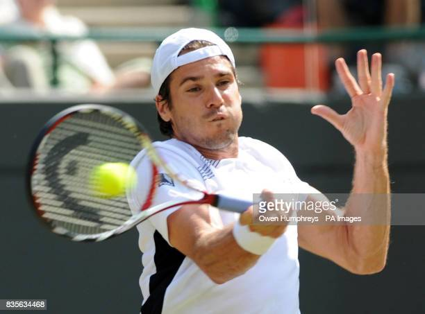 Germany's Tommy Haas in action against Croatia's Marin Cilic during the 2009 Wimbledon Championships at the All England Lawn Tennis and Croquet Club...