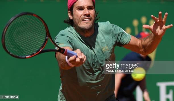 Germany's Tommy Haas returns to Czech Republic's Tomas Berdych during the MonteCarlo ATP Masters Series tournament on April 19 2017 in Monaco / AFP...
