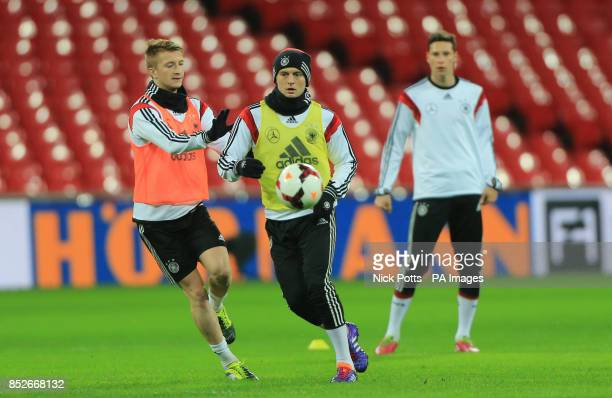 Germany's Toni Kroos with Marcus Reus during the training session at Wembley Stadium London