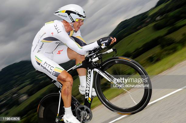 Germany's Tony Martin competes in the 425 km individual timetrial and twentieth stage of the 2011 Tour de France cycling race run around Grenoble...