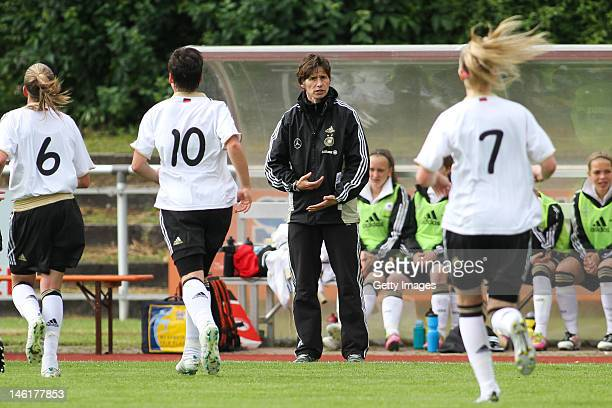 Germany's trainer Bettina Wiegmann gestures during the Women's international friendly match between Germany and Austria on June 6 2012 at Eichenbach...