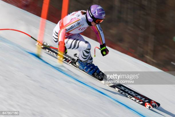 Germany's Viktoria Rebensburg competes during the second women's downhill practice at a FIS Alpine Ski World Cup in Jeongseon some 150km east of...