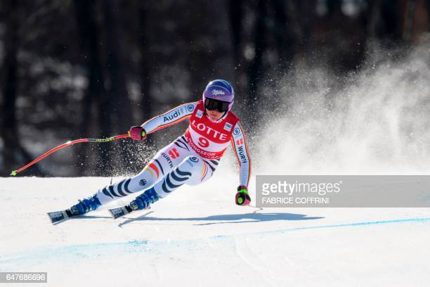 Germany's Viktoria Rebensburg competes during the women's downhill race at the FIS Alpine Ski World Cup in Jeongseon some 150km east of Seoul that is...