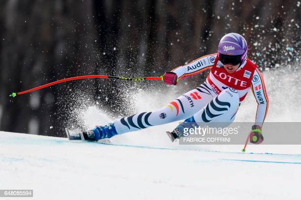 Germany's Viktoria Rebensburg competes during the Women's Super G race at the FIS Alpine Ski World Cup in Jeongseon some 150km east of Seoul part of...