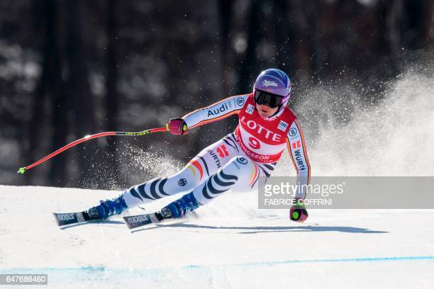Germany's Viktoria Rebensburg competes during women's downhill race at the FIS Alpine Ski World Cup in Jeongseon some 150km east of Seoul that is...
