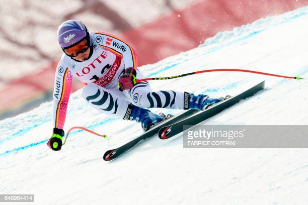 Germany's Viktoria Rebensburg competes in the women's downhill practice during a FIS Alpine Ski World Cup in Jeongseon some 150km east of Seoul also...
