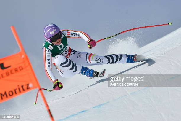 Germany's Viktoria Rebensburg competes in the women's downhill race at the 2017 FIS Alpine World Ski Championships in St Moritz on February 12 2017 /...