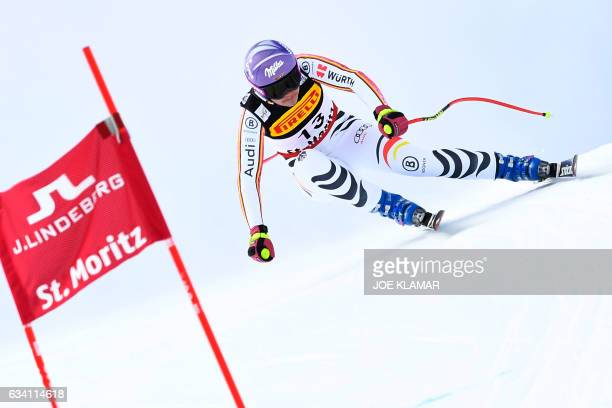 Germany's Viktoria Rebensburg competes in the women's SuperG race at the 2017 FIS Alpine World Ski Championships in St Moritz on February 7 2017 /...