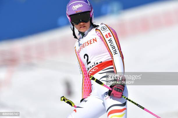 Germany's Viktoria Rebensburg reacts after failing to finish the women's giant slalom race at the 2017 FIS Alpine World Ski Championships in St...