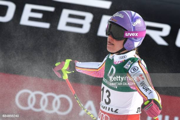 Germany's Viktoria Rebensburg reacts in the finish area of the women's downhill race at the 2017 FIS Alpine World Ski Championships in St Moritz on...