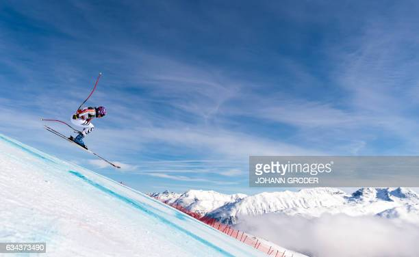 Germany's Viktoria Rebensburg takes part in a training session of the women's downhill race at the 2017 FIS Alpine World Ski Championships in St...