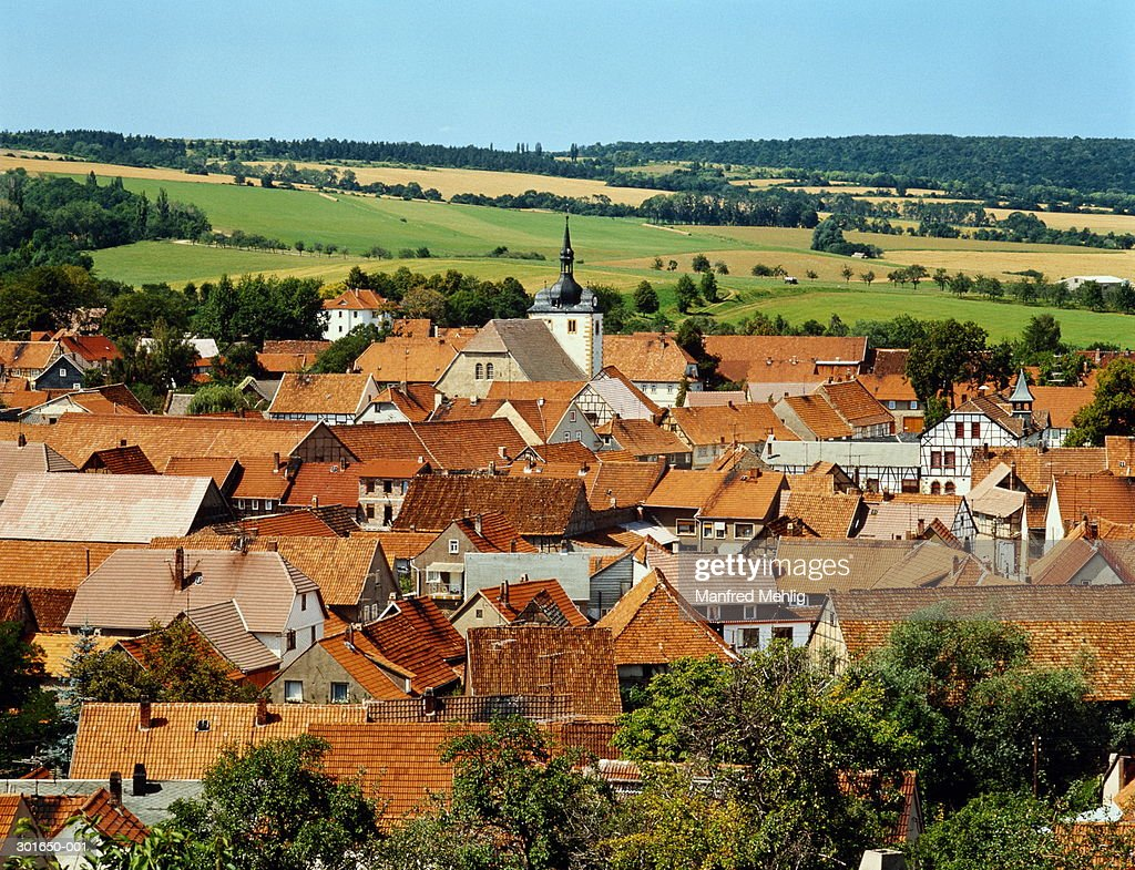 Germany,Thuringia,Dorf Muhlberg, view over town and fields