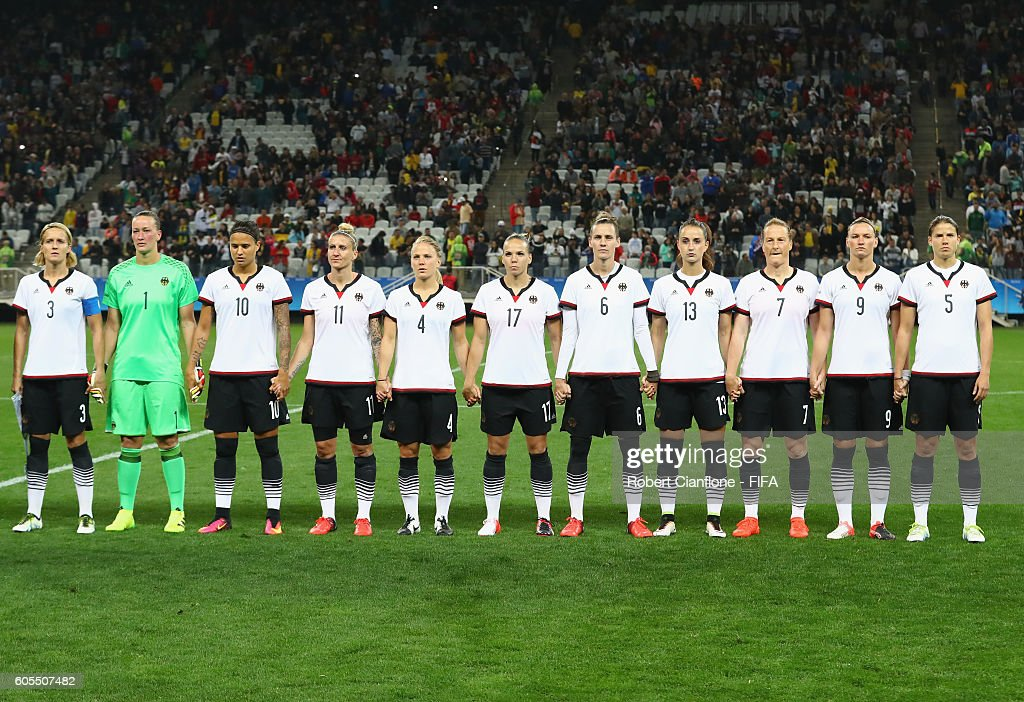 Germay line up for the Women's First Round Group F match between Zimbabwe and Germany at Arena Corinthians on August 3, 2016 in Sao Paulo, Brazil.