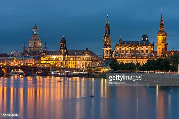 Germnay, Dresden, view to lighted city with Elbe River in the foreground