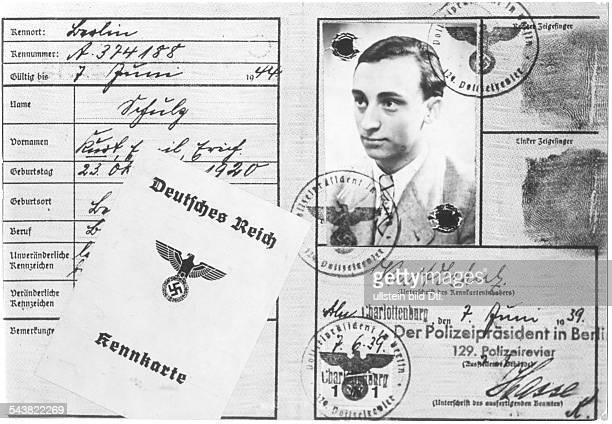 Germnay Third Reich documents 'Kennkarte' issued in the year 1939