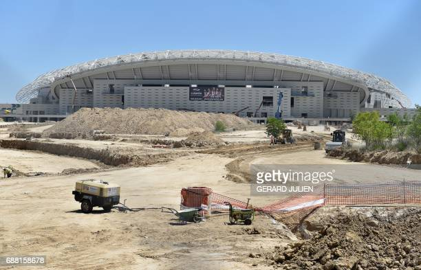 Gerneal view of construction works at the Wanda Metropolitano Stadium in Madrid on May 24 the new stadium of Club Atletico de Madrid that is to...