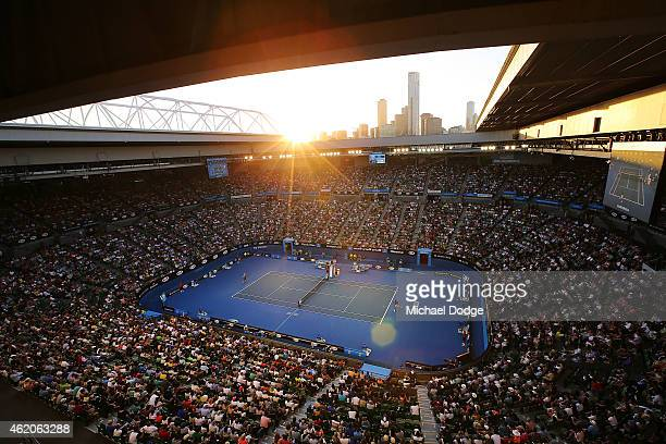 A gerneral is seen at Rod laver Arena as Fernando Verdasco of Spain plays against Novak Djokovic of Serbia during day six of the 2015 Australian Open...